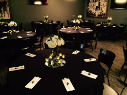Hagemeister Park - Party Room - Black Tablecloth Tables